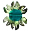 Glass Lamp Bead 27/33mm Flower Peridot/Emerald Centre/Bronze